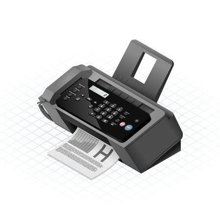 This image is a black fax machine with plastic and glossy material