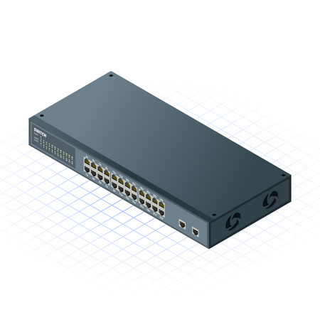 assemblies: This image is a 24 Ports Switch with 2 Ports Uplink for Computer Network Illustration