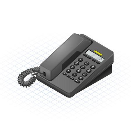 Isometric Telephone Vector Illustration Ilustração