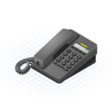 Isometric Telephone Vector Illustration Stock Illustratie