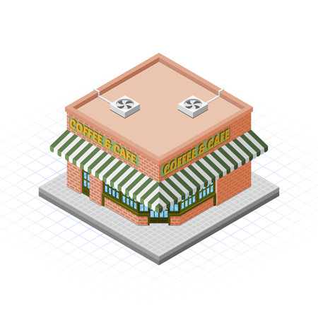 Isometric Coffee and Cafe Building Vector Illustration