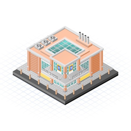 Isometric Food Market Building Vector Illustration Illustration