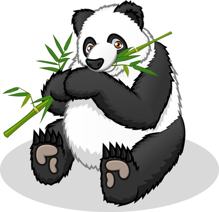 happy people eating: High Quality Giant Panda Vector Cartoon  Illustration Illustration
