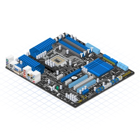 circuit boards: Isometric Motherboard Vector Illustration