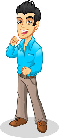 man full body: Young Manager with Go Feel Wearing Casual Business Attire Vector Cartoon Illustrations