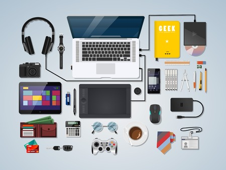 view: Semi realistic complete modern vector illustration concept of creative office workspace. Top view of desk background with laptop, digital devices, office objects, books and documents.
