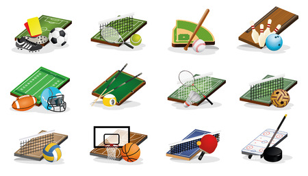 Set of Sport Fileds, Arena, Balls and Equpments Vector Illustrations Vector