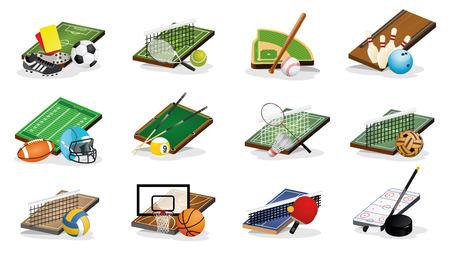 Set of Sport Fileds, Arena, Balls and Equpments Vector Illustrations