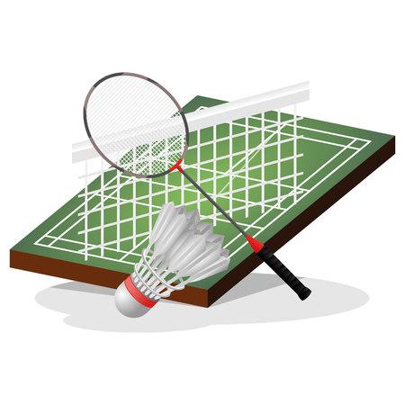 Badminton Field and Ball Vector Illustration Illustration