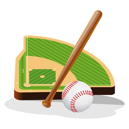 baseball field: Baseball Field and Ball Vector Illustration Illustration