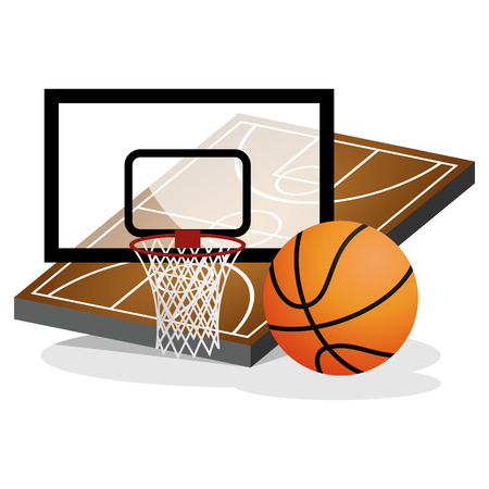 court symbol: Basket Ball Field and Ball Vector Illustration Illustration