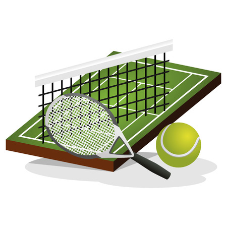 hard court: Tennis Field and Ball Vector Illustration