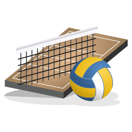 Volleyball Field and Ball Vector Illustration