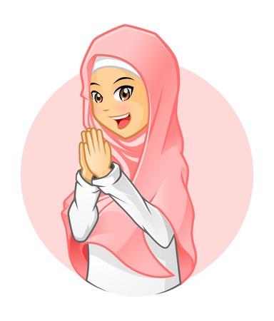 the welcome: Alta calidad ni�a musulmana con velo rosado con armas de bienvenida Vectores