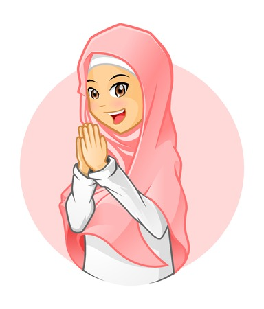 High Quality Muslim Girl Wearing Pink Veil with Welcoming Arms