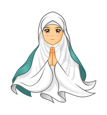 islamic pray: High Quality Muslim Woman Wearing White Veil with Welcoming Arms