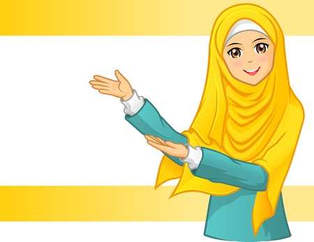 woman vector: High Quality Muslim Woman Wearing Yellow Veil with Invite Arms Illustration