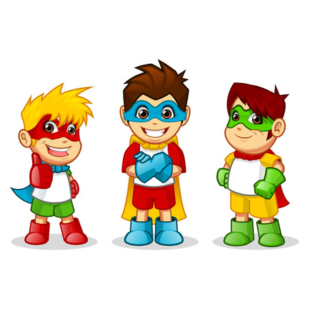 cartoon superhero: High Quality Kid Super Heroes Vector Cartoon Illustration