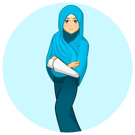 folded arms: High Quality Modern Muslim Woman with Folded Arms Wearing Blue Veil Vector Cartoon Illustration