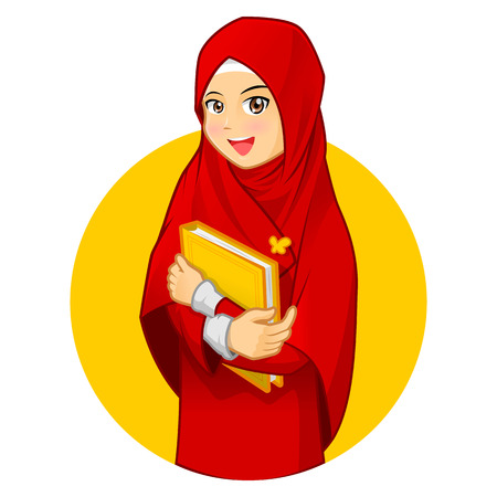 character of people: High Quality Muslim Woman with Hugging a Book Wearing Red Veil Vector Cartoon Illustration