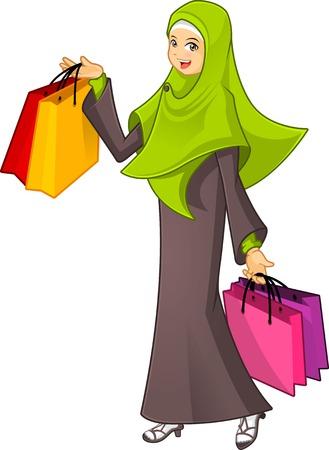 femme musulmane: Haute Qualité musulmane femme tenant un sac shopping Porter Vert Veil Vector Illustration de bande dessinée