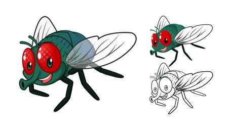 mosca caricatura: Alta calidad detallada del personaje de dibujos animados con la mosca plana Diseño y Arte Line Negro y la ilustración vectorial White Version