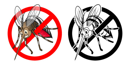 stop mosquito: High Quality Prohibition Sign Mosquito Cartoon Character with Black and White Version Vector Illustration