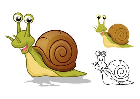 High Quality Detailed Snail Cartoon Character with Flat Design and Line Art Black and White Version Vector Illustration