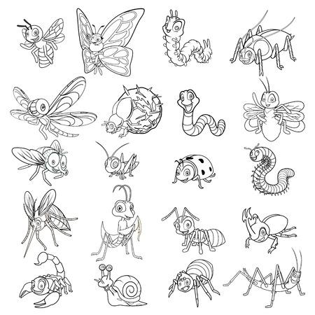 Set van Insect stripfiguur Line Art Vector Illustratie bevatten mier, bij, kever, vlinder, rups, libel, glimworm, vliegen, sprinkhaan, lieveheersbeestje, bidsprinkhanen, duizendpoot, muggen, schorpioen, slak, spin, worm, stick insect, mestkever