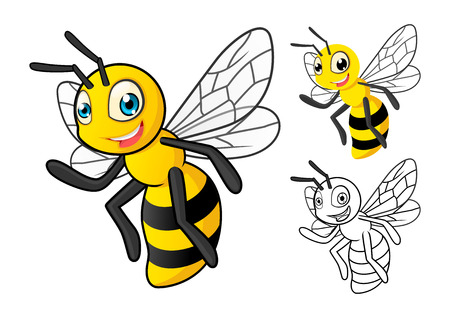 detailed image: High Quality Detailed Honey Bee Cartoon Character with Flat Design and Line Art Black and White Version Vector Illustration