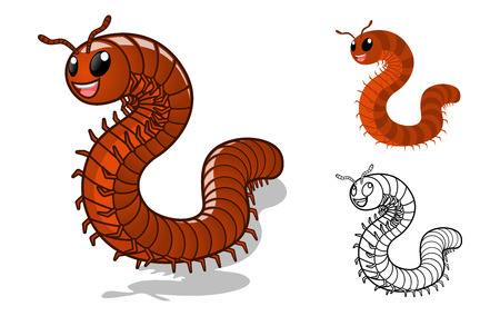 High Quality Detailed Millipede Cartoon Character with Flat Design and Line Art Black and White Version Vector Illustration