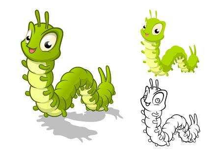 oruga: Alta calidad detallada del personaje de dibujos animados con Oruga Piso Diseño y Arte Line Negro y la ilustración vectorial White Version Vectores
