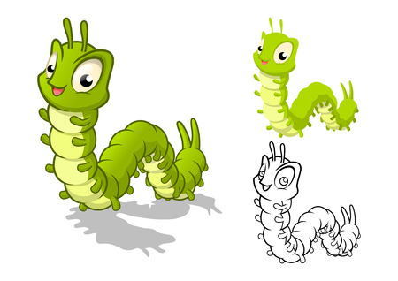 caterpillar: High Quality Detailed Caterpillar Cartoon Character with Flat Design and Line Art Black and White Version Vector Illustration