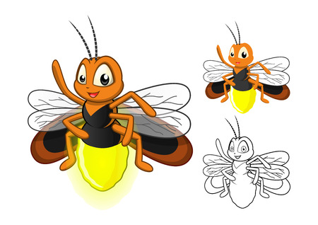 High Quality Detailed Firefly Cartoon Character with Flat Design and Line Art Black and White Version Vector Illustration