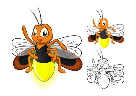 Hohe Qualität detaillierte Firefly-Cartoon-Figur mit flachem Aufbau und Line Art Schwarzweiss-Version Vector Illustration Vektorgrafik