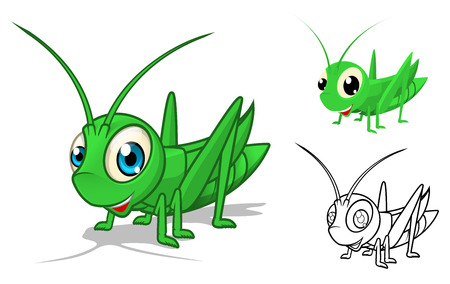 High Quality Detailed Grasshopper Cartoon Character with Flat Design and Line Art Black and White Version Vector Illustration 版權商用圖片 - 43939918