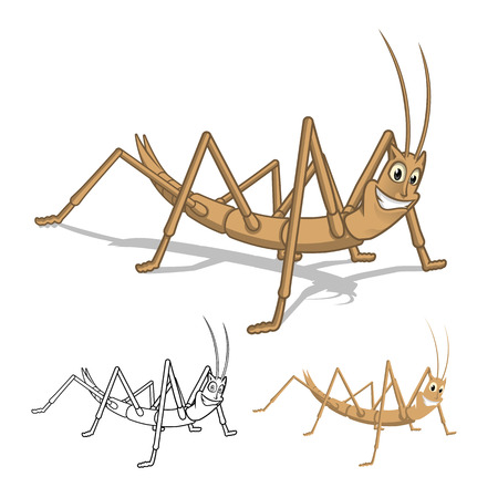 High Quality Detailed Stick Insect Cartoon Character with Flat Design and Line Art Black and White Version Vector Illustration Illustration