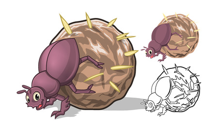 High Quality Detailed Dung Beetle Cartoon Character with Flat Design and Line Art Black and White Version Vector Illustration