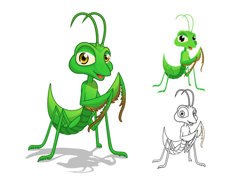 High Quality Detailed Praying Mantis Cartoon Character with Flat Design and Line Art Black and White Version Vector Illustration