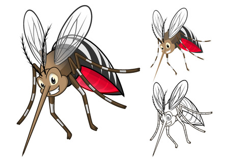 High Quality Detailed Mosquitoes Cartoon Character with Flat Design and Line Art Black and White Version Vector Illustration Illustration