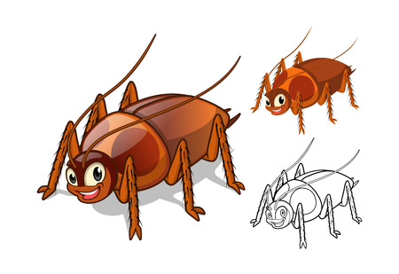 roach: High Quality Detailed Cockroach Cartoon Character with Flat Design and Line Art Black and White Version Vector Illustration