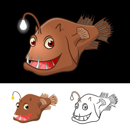 neon fish: High Quality Angler Fish Cartoon Character Include Flat Design and Line Art Version