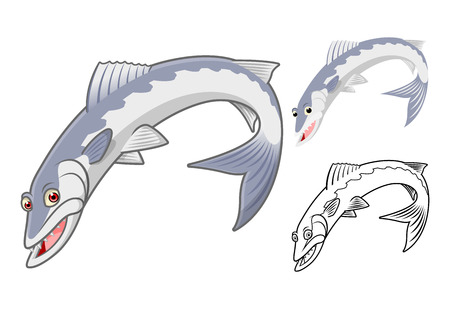 barracuda: High Quality Barracuda Cartoon Character Include Flat Design and Line Art Version