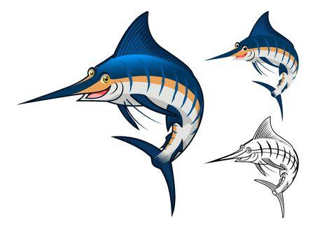 Alta calidad de personaje de dibujos animados Blue Marlin incluyen el diseño de espacios de versión de línea de Arte