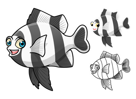 damsel: High Quality Four Stripe Damsel Fish Cartoon Character Include Flat Design and Line Art Version Illustration