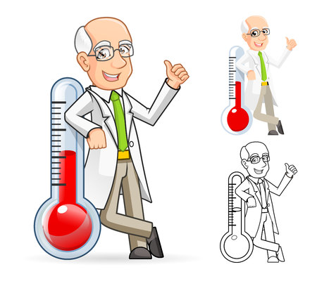 High Quality Scientist Cartoon Character Leaning Against a Temperature Include Flat Design and Line Art Version Illustration