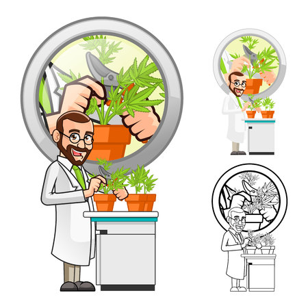 to plant: High Quality Plant Scientist Cartoon Character Cutting a Leaf from a Plant Include Flat Design and Line Art Version