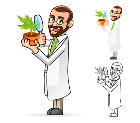scientist in lab: High Quality Plant Scientist Cartoon Character Looking at a Plant Through a Magnifying Glass Include Flat Design and Line Art Version
