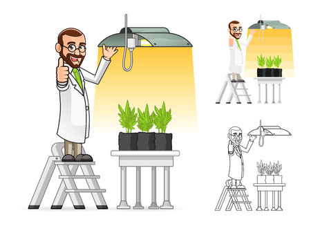 High Quality Plant Scientist Cartoon Character Hanging a Grow Light Include Flat Design and Line Art Version