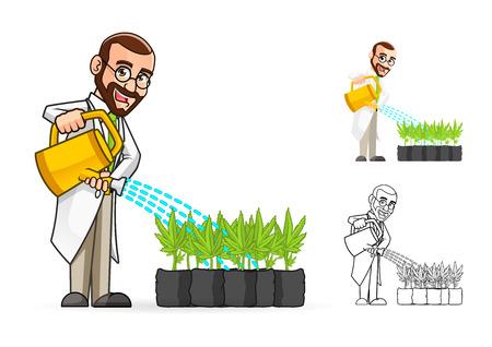 식물을 물을 높은 품질 공장 과학자 만화 캐릭터는 평면 디자인과 라인 아트 버전을 포함 일러스트